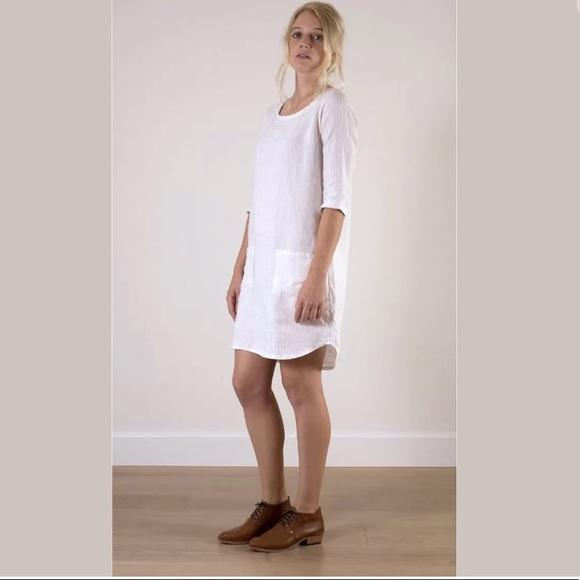 1d3ee97a69 Pyne   Smith White Striped Linen Shift Dress. M 5aceef9c84b5ceca0a419b73